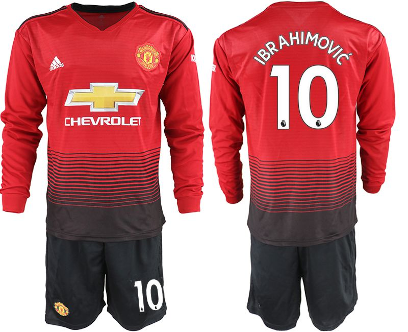 Men 2018-2019 club Manchester united home long sleeve 10 red soccer jerseys