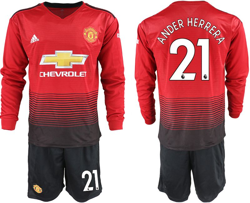 Men 2018-2019 club Manchester united home long sleeve 21 red soccer jerseys