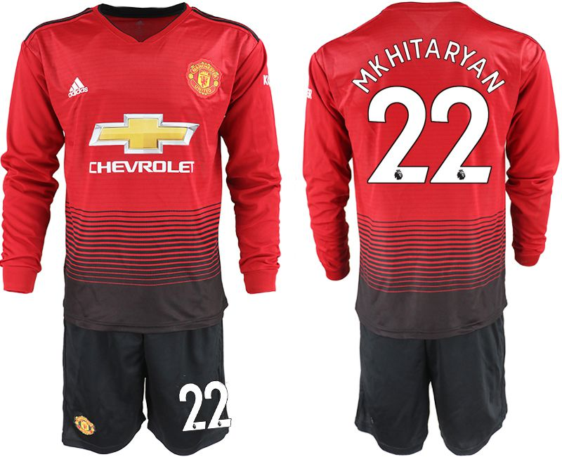 Men 2018-2019 club Manchester united home long sleeve 22 red soccer jerseys