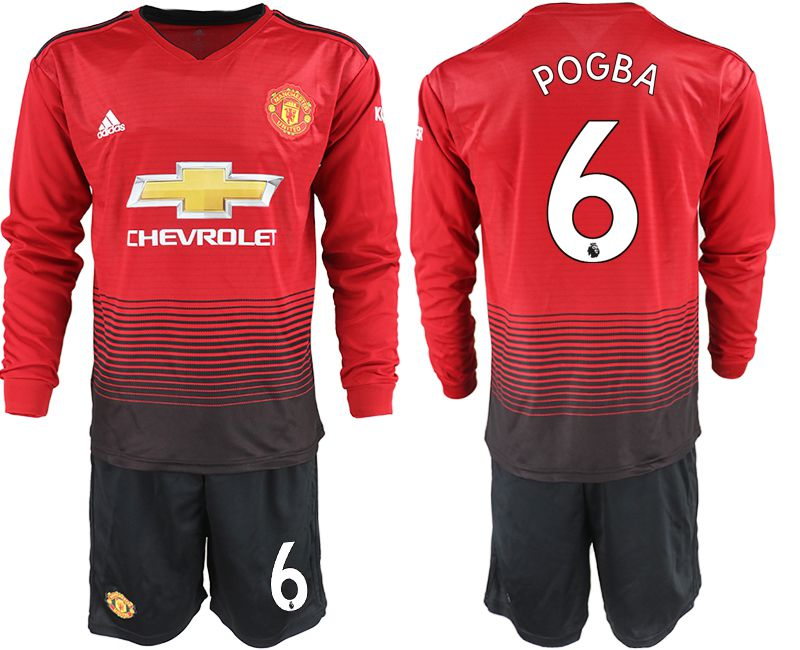 Men 2018-2019 club Manchester united home long sleeve 6 red soccer jerseys