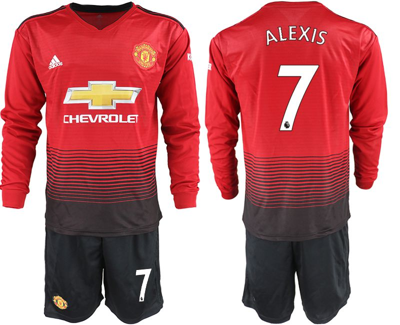 Men 2018-2019 club Manchester united home long sleeve 7 red soccer jerseys
