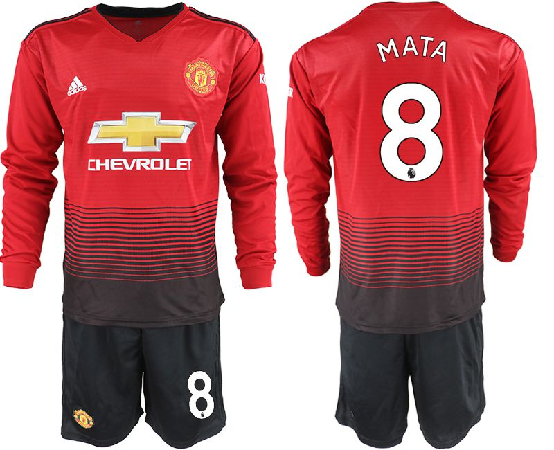 Men 2018-2019 club Manchester united home long sleeve 8 red soccer jerseys