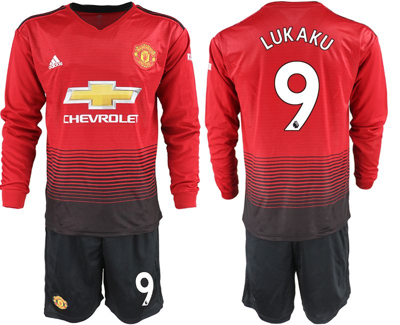 Men 2018-2019 club Manchester united home long sleeve 9 red soccer jerseys