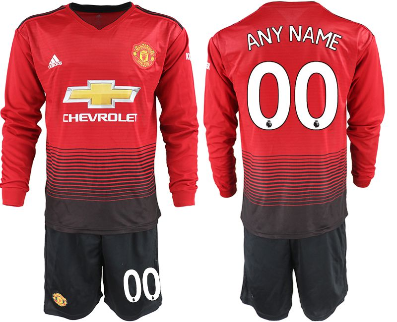 Men 2018-2019 club Manchester united home long sleeve customized red soccer jerseys