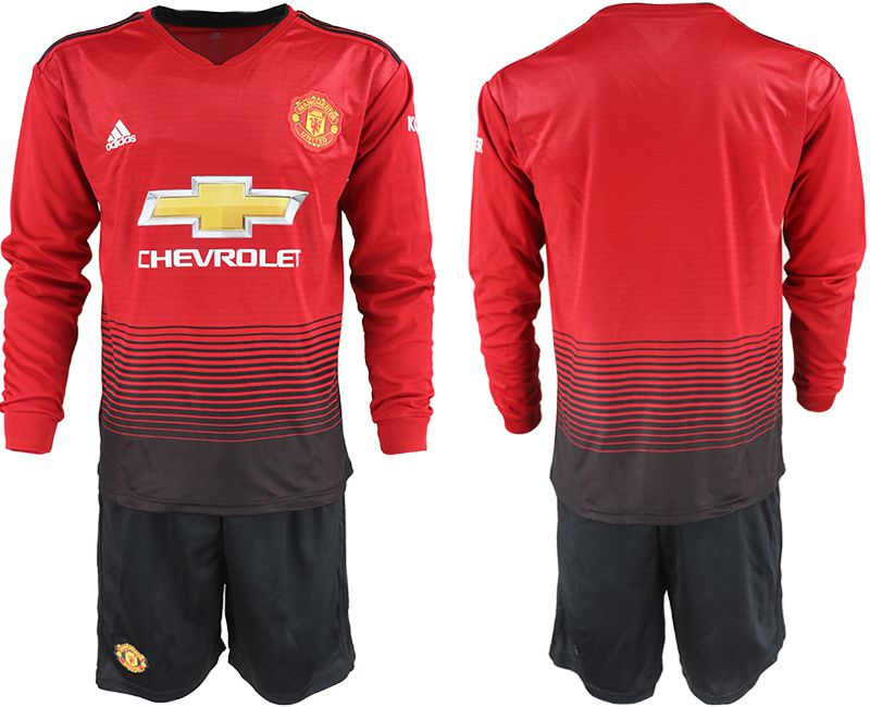 Men 2018-2019 club Manchester united home long sleeve red soccer jerseys