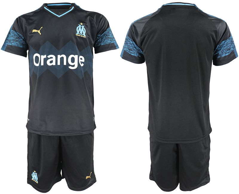 Men 2018-2019 club Olympique de Marseille away black soccer jerseys
