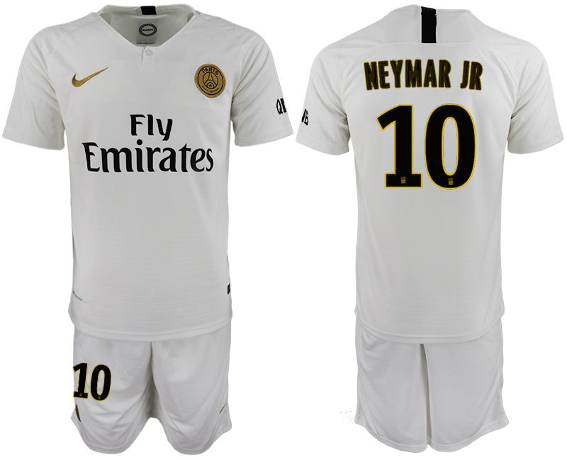 Men 2018-2019 club Paris Saint-Germain away 10 white soccer jerseys