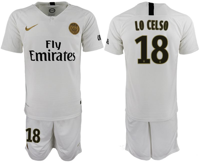 Men 2018-2019 club Paris Saint-Germain away 18 white soccer jerseys