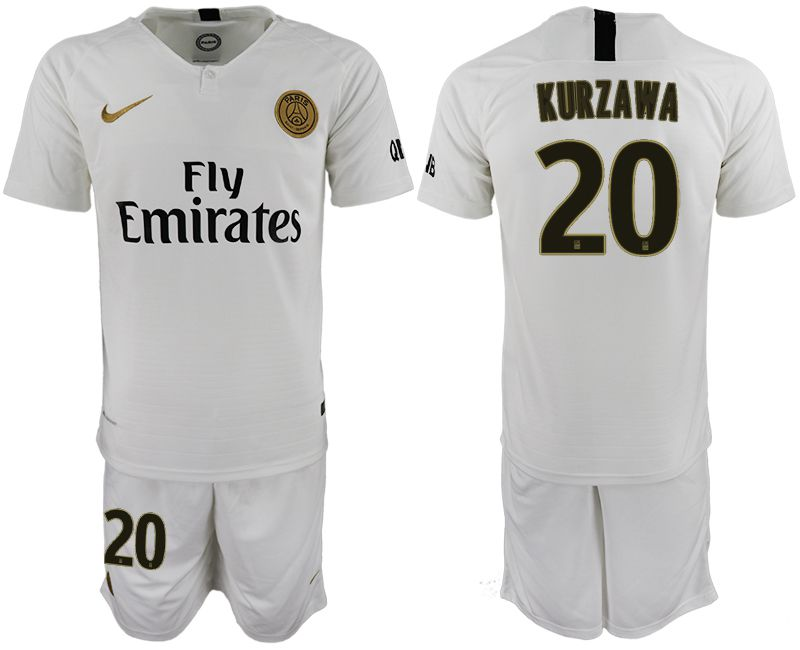 Men 2018-2019 club Paris Saint-Germain away 20 white soccer jerseys