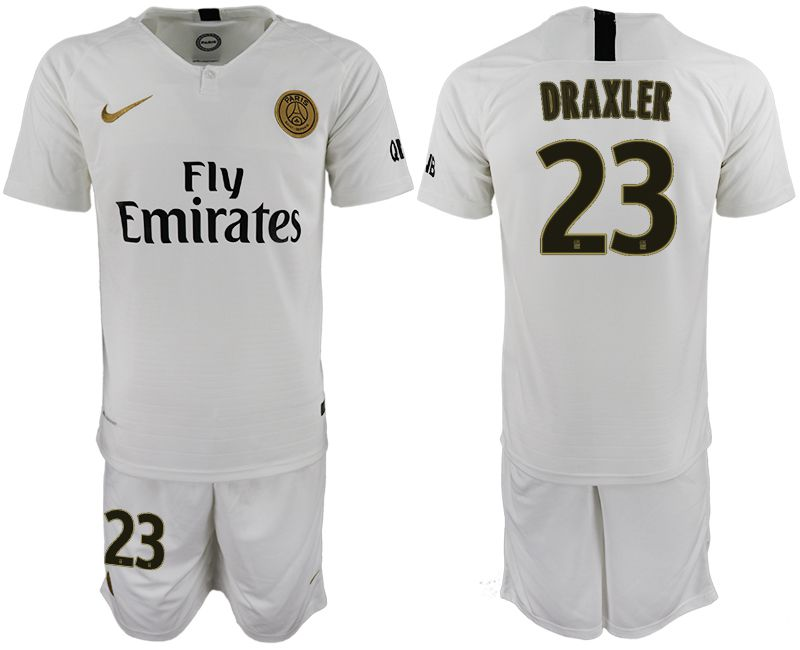 Men 2018-2019 club Paris Saint-Germain away 23 white soccer jerseys