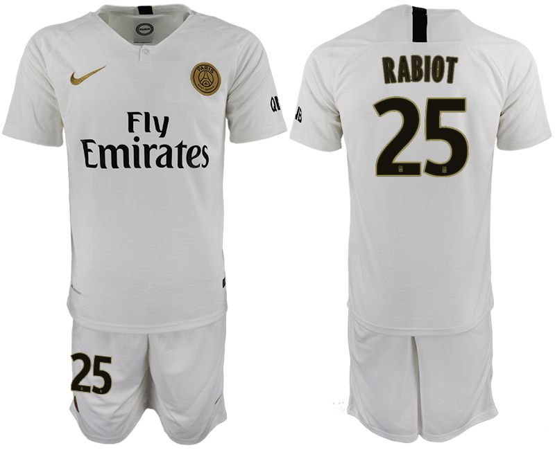 Men 2018-2019 club Paris Saint-Germain away 25 white soccer jerseys