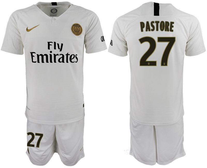Men 2018-2019 club Paris Saint-Germain away 27 white soccer jerseys