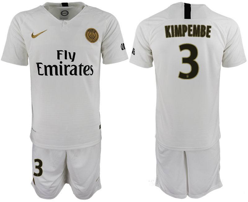 Men 2018-2019 club Paris Saint-Germain away 3 white soccer jerseys