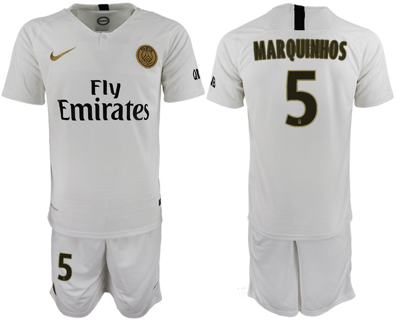 Men 2018-2019 club Paris Saint-Germain away 5 white soccer jerseys