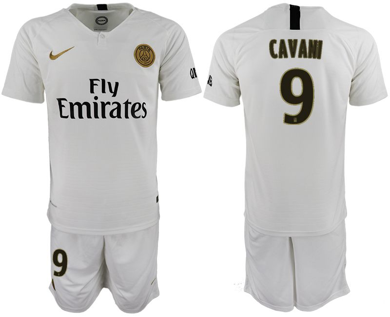 Men 2018-2019 club Paris Saint-Germain away 9 white soccer jerseys
