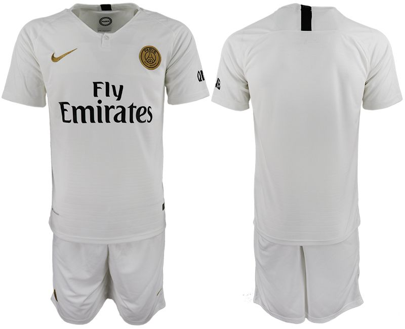 Men 2018-2019 club Paris Saint-Germain away white soccer jerseys