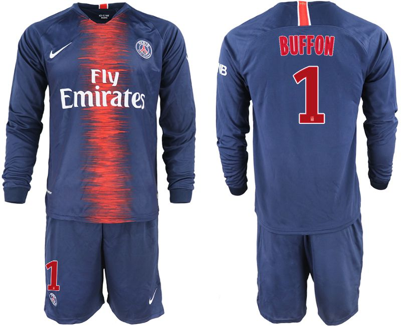 Men 2018-2019 club Paris St Germain home long sleeve 1 blue soccer jerseys