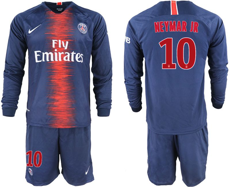 Men 2018-2019 club Paris St Germain home long sleeve 10 blue soccer jerseys