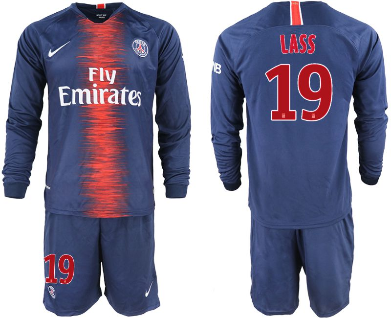 Men 2018-2019 club Paris St Germain home long sleeve 19 blue soccer jerseys