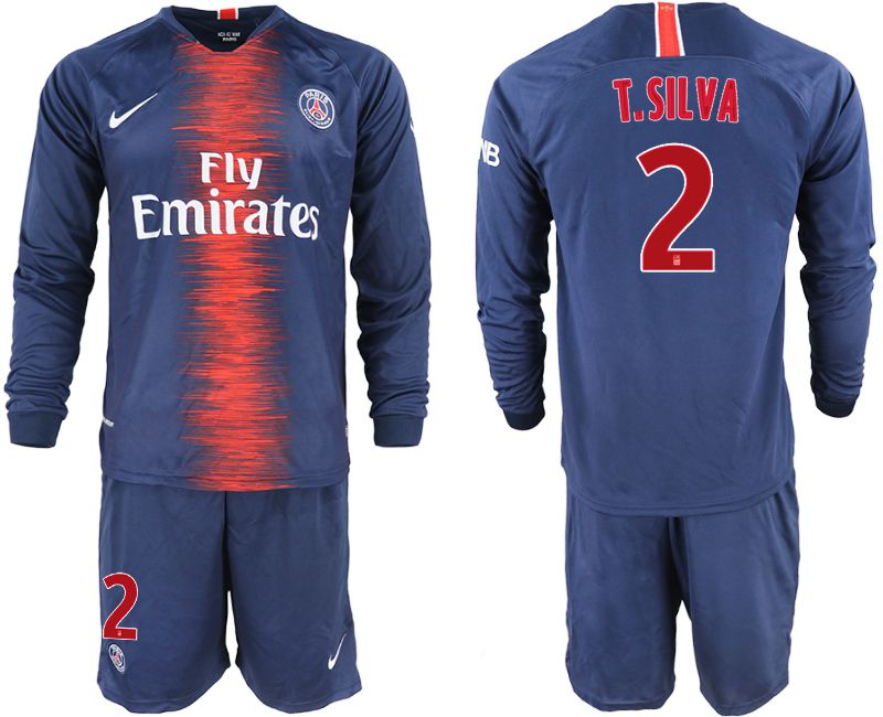 Men 2018-2019 club Paris St Germain home long sleeve 2 blue soccer jerseys