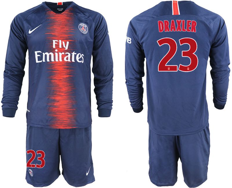 Men 2018-2019 club Paris St Germain home long sleeve 23 blue soccer jerseys