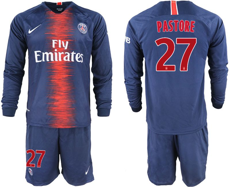 Men 2018-2019 club Paris St Germain home long sleeve 27 blue soccer jerseys