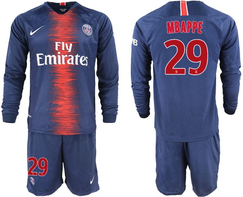 Men 2018-2019 club Paris St Germain home long sleeve 29 blue soccer jerseys
