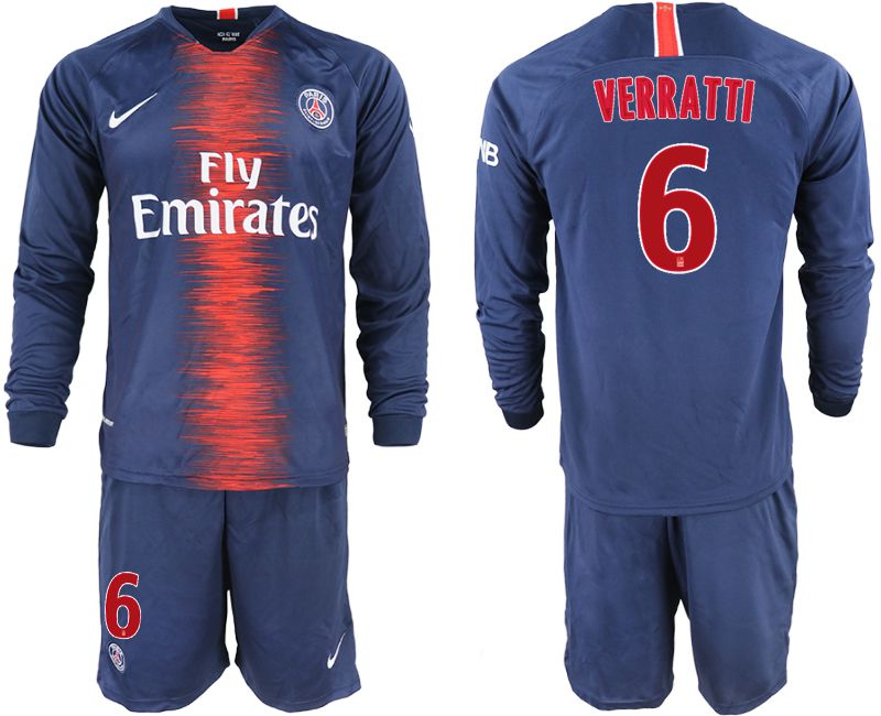 Men 2018-2019 club Paris St Germain home long sleeve 6 blue soccer jerseys