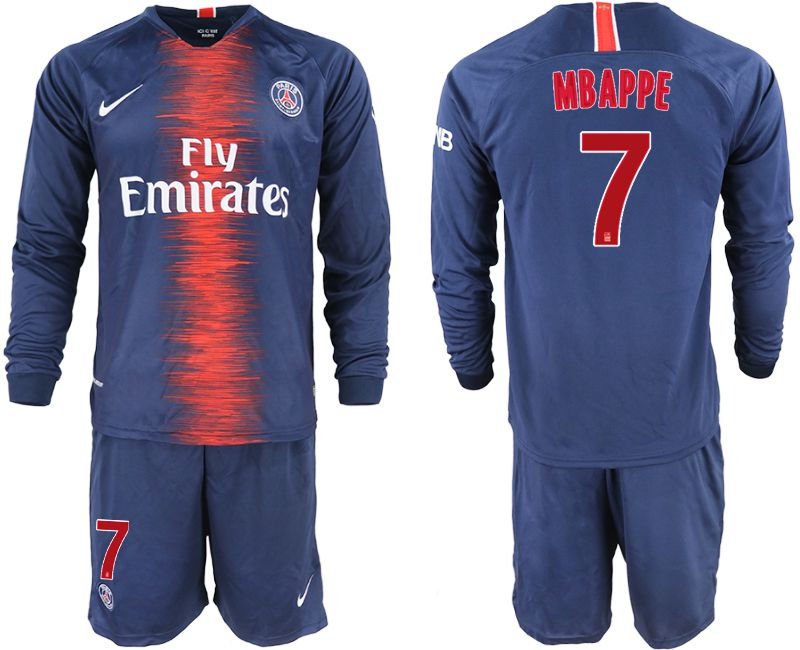 Men 2018-2019 club Paris St Germain home long sleeve 7 blue soccer jerseys