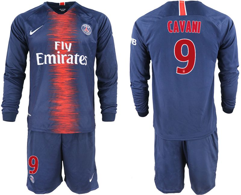 Men 2018-2019 club Paris St Germain home long sleeve 9 blue soccer jerseys