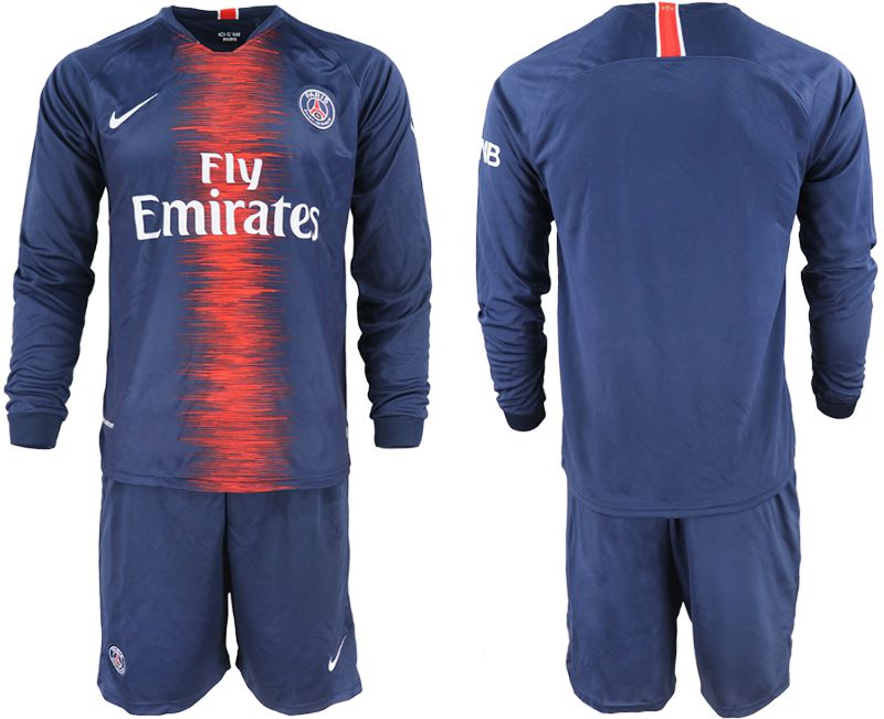 Men 2018-2019 club Paris St Germain home long sleeve blue soccer jerseys