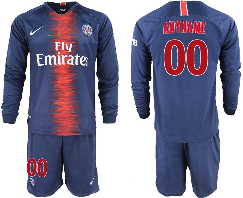Men 2018-2019 club Paris St Germain home long sleeve customized blue soccer jerseys