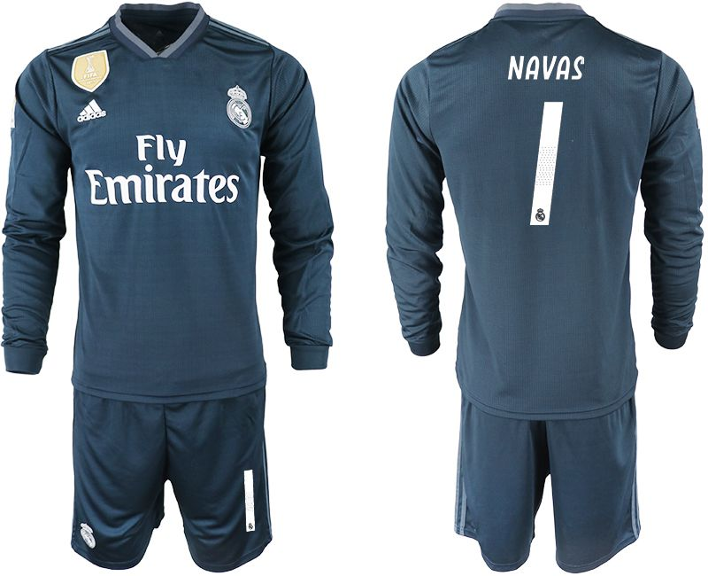 Men 2018-2019 club Real Madrid away long sleeve 1 blue soccer jersey