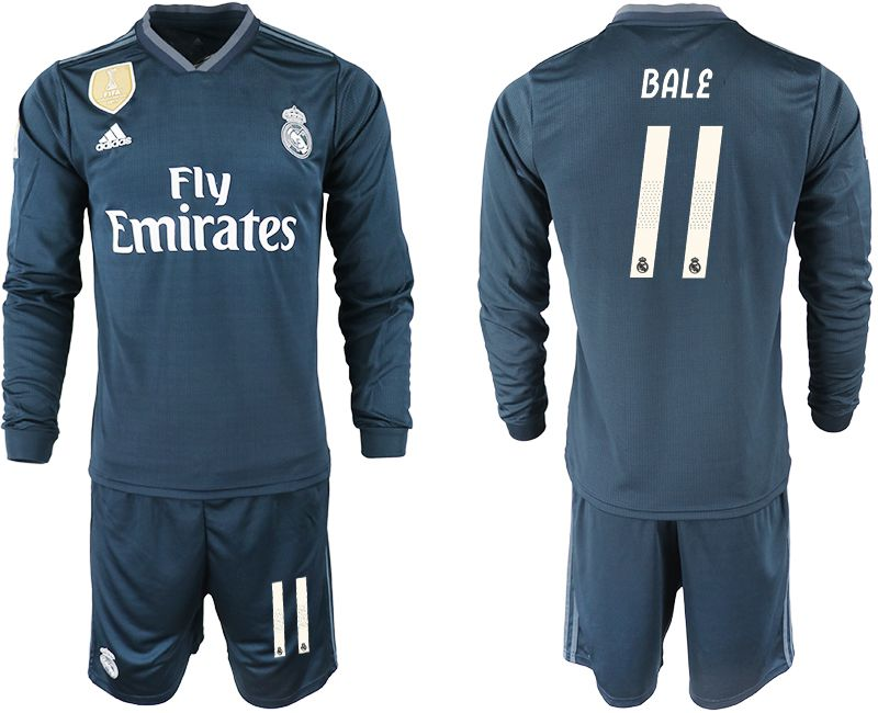 Men 2018-2019 club Real Madrid away long sleeve 11 blue soccer jersey