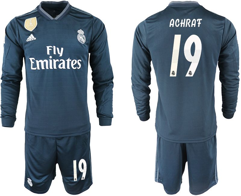Men 2018-2019 club Real Madrid away long sleeve 19 blue soccer jersey