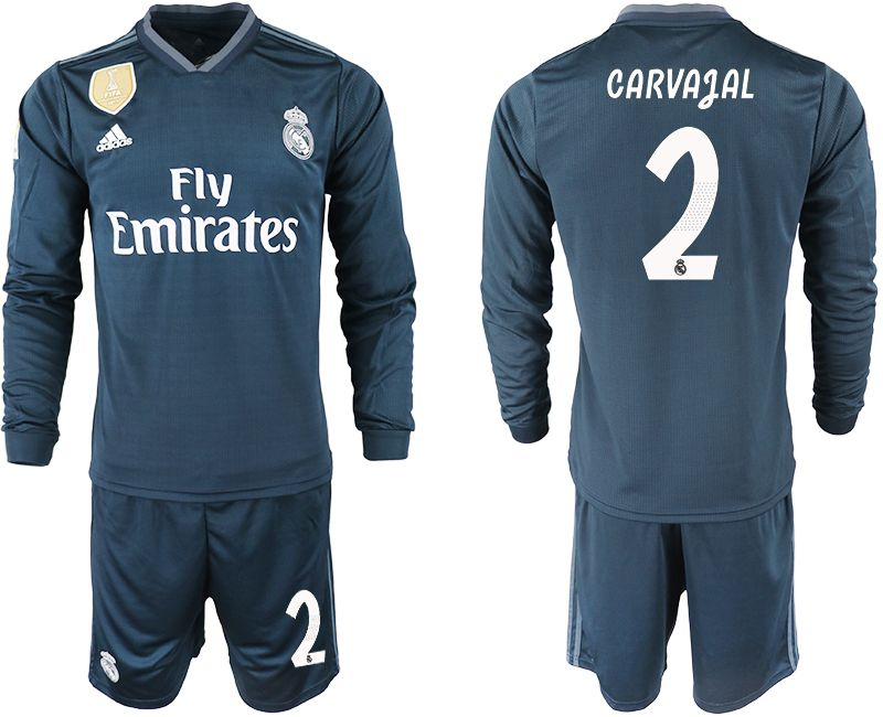 Men 2018-2019 club Real Madrid away long sleeve 2 blue soccer jersey