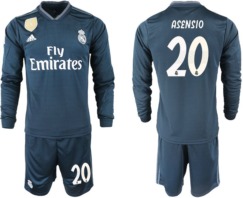 Men 2018-2019 club Real Madrid away long sleeve 20 blue soccer jersey