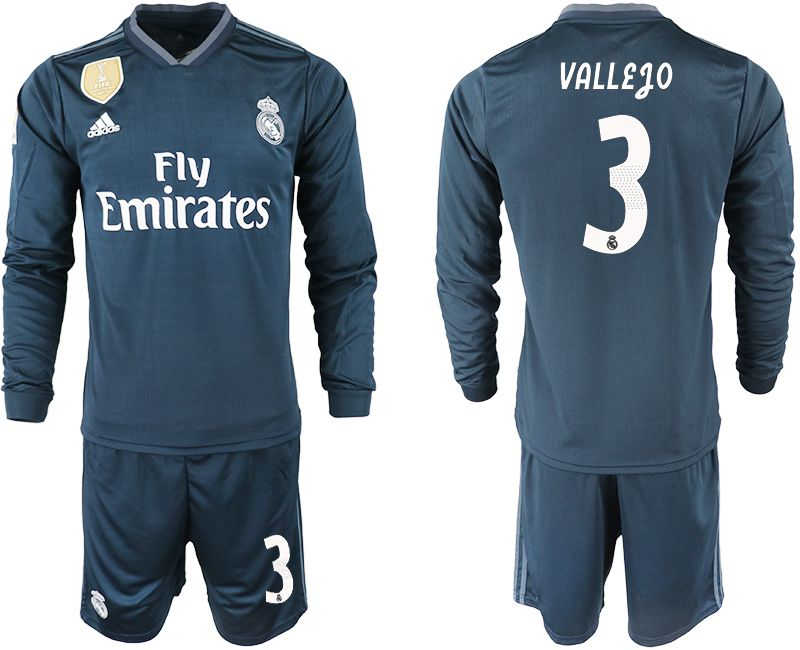 Men 2018-2019 club Real Madrid away long sleeve 3 blue soccer jersey