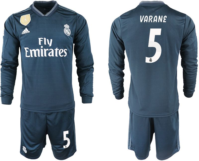Men 2018-2019 club Real Madrid away long sleeve 5 blue soccer jersey