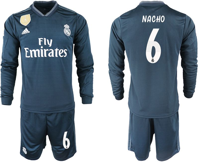 Men 2018-2019 club Real Madrid away long sleeve 6 blue soccer jersey