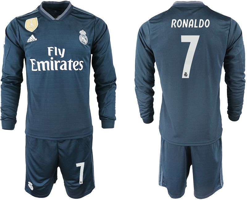 Men 2018-2019 club Real Madrid away long sleeve 7 blue soccer jersey