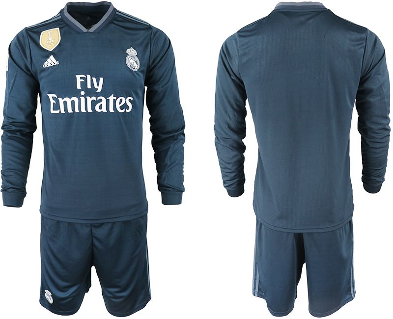 Men 2018-2019 club Real Madrid away long sleeve blue soccer jersey
