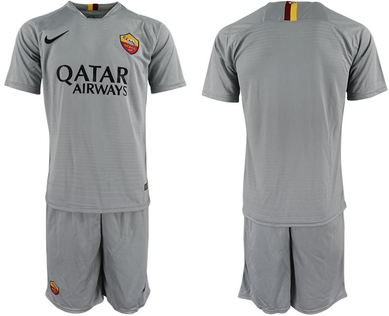 Men 2018-2019 club Rome away grey soccer jerseys