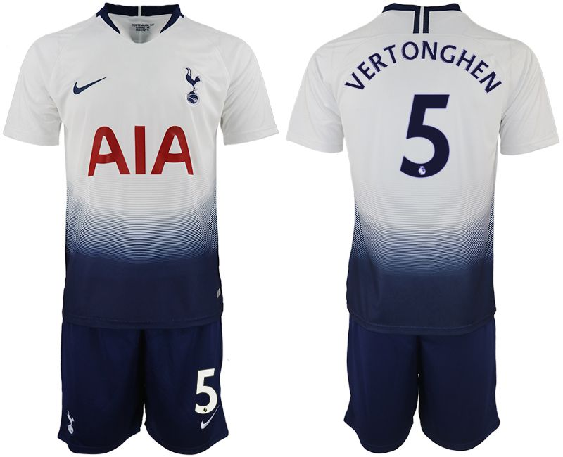 Men 2018-2019 club Tottenham Hotspur home 5 white soccer jerseys