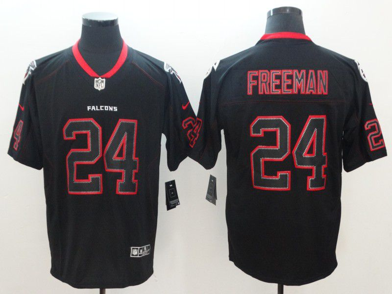 Men Atlanta Falcons 24 Freeman Nike Lights Out Black Color Rush Limited NFL Jerseys