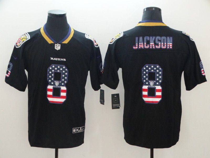 Men Baltimore Ravens 8 Jackson Nike USA Flag Fashion Black Color Rush Limited NFL Jerseys