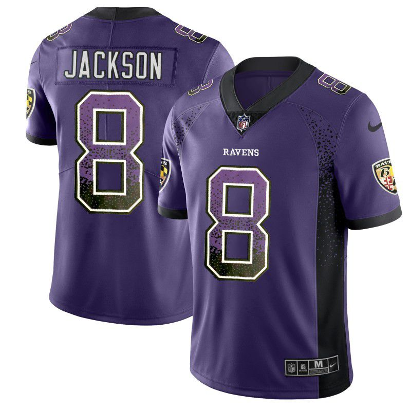 Men Baltimore Ravens 8 Jackson Purple Nike Drift Fashion Color Rush Limited NFL Jerseys