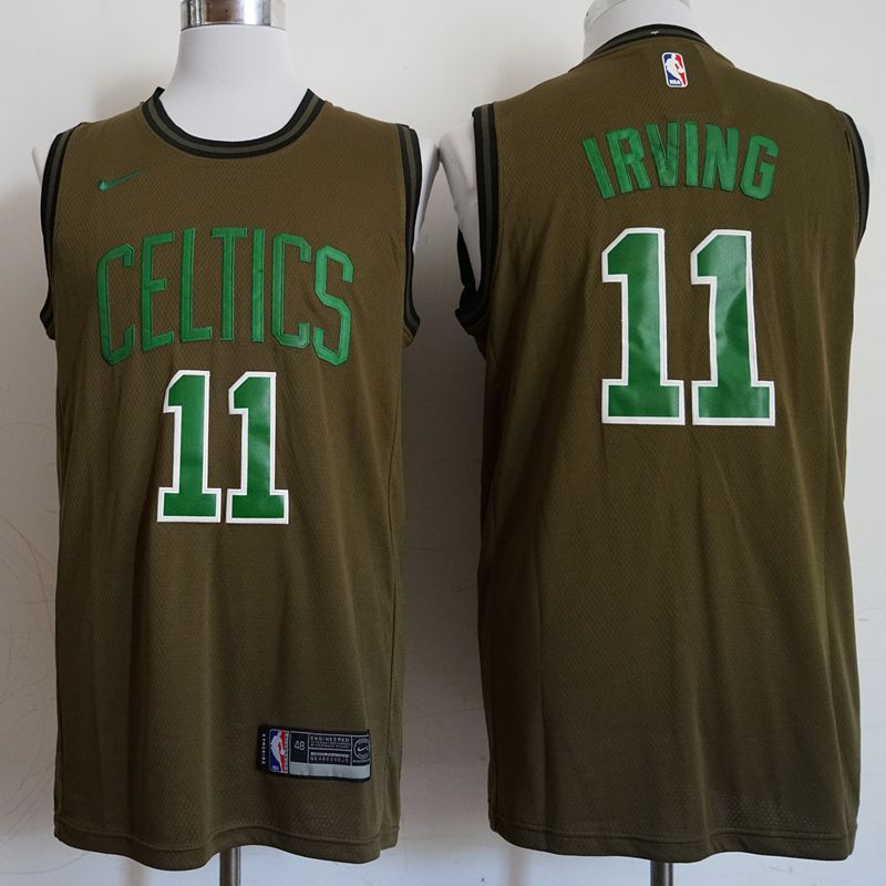 Men Boston Celtics 11 Irving Military green Game Nike NBA Jerseys