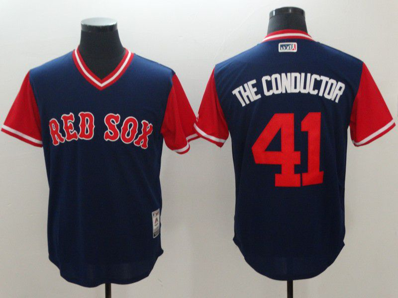 Men Boston Red Sox 41 The conductor Blue New Rush Limited MLB Jerseys