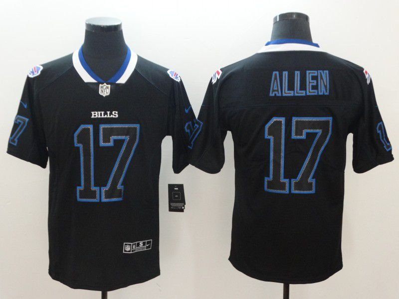 Men Buffalo Bills 17 Allen Nike Lights Out Black Color Rush Limited NFL Jerseys
